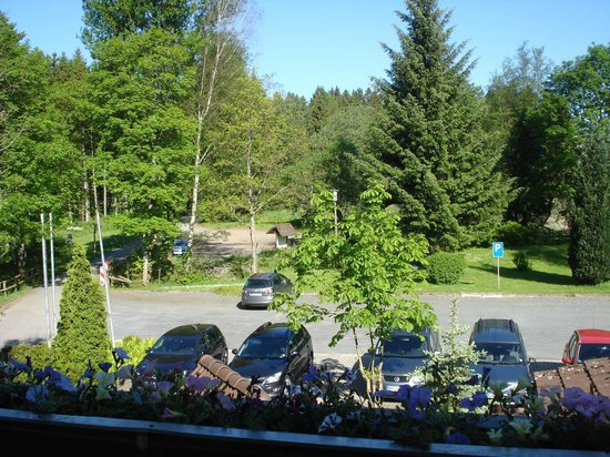 Clausthal-Zellerfeld, Jerman: view from balcony over car park