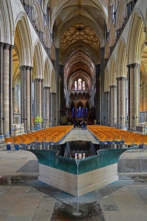 Salisbury Cathedral and Magna Carta: An old Cathedral reflected in the modern baptistry