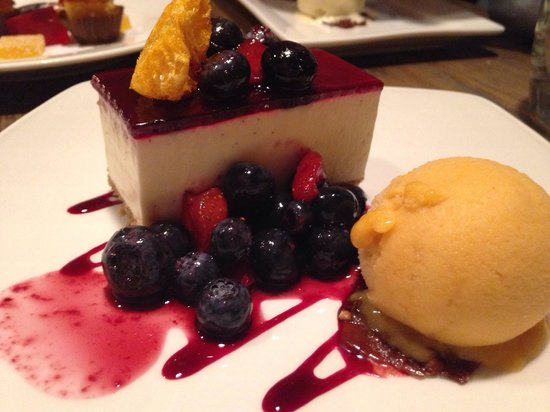 Novikov Restaurant & Bar: Berry cheeses cake with Mango sorbet. Amazing after a nice meal.
