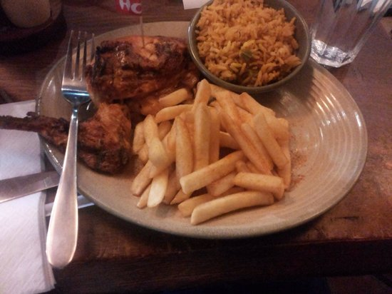 Nando's: Grilled chicken, peri peri fries and spicy rice