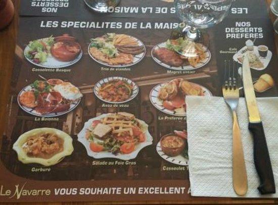 Le Navarre : Carte restaurant