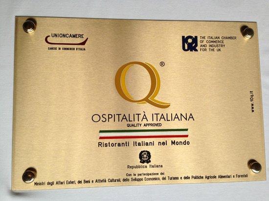 Via Veneto Ristorante Italiano: Premio qualita