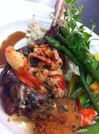 Bella of Ancaster - Philip Shaver House: Veal chop with Lobster Sauce & Crab cake ...Amazing !