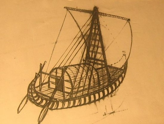 The Kon-Tiki Museum : Overview drawing of the Kon-Tiki raft