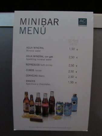 AC Hotel Carlton Madrid: MiniBar menu