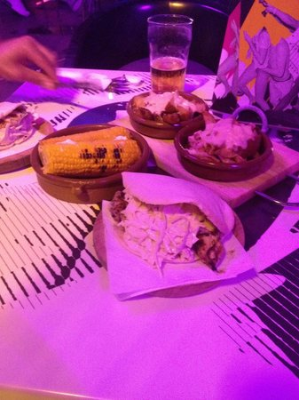 Ibiza Rocks Bar and Diner : Chicken pitta kebab with cheese red onion wedges and corn on cob!! Amazing food
