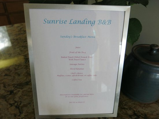 Sunrise Landing Bed and Breakfast: Morning Menu