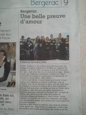 Château de La Côte : article de presse