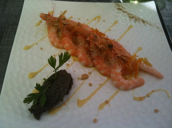 Le vin sur 20 : Le décortiqué de crevettes au citron confit et tapenade.