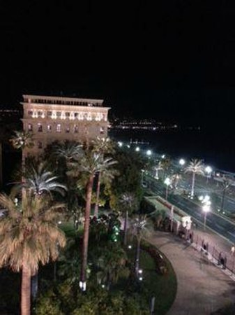 Hotel Negresco : View from room at night, along Promenade des Anglais toward centre of Nice