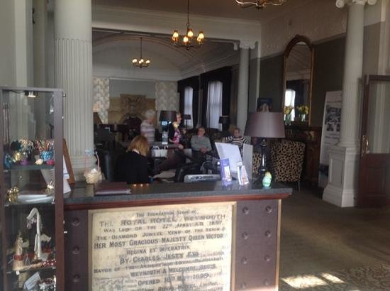 Bay Royal Weymouth Hotel : reception, withe the stone laid by Queen Victoria