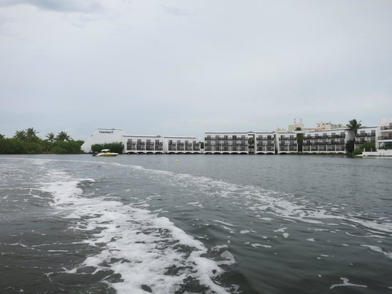 Club Med Cancun Yucatan: View of resort from speed boat in lagoon