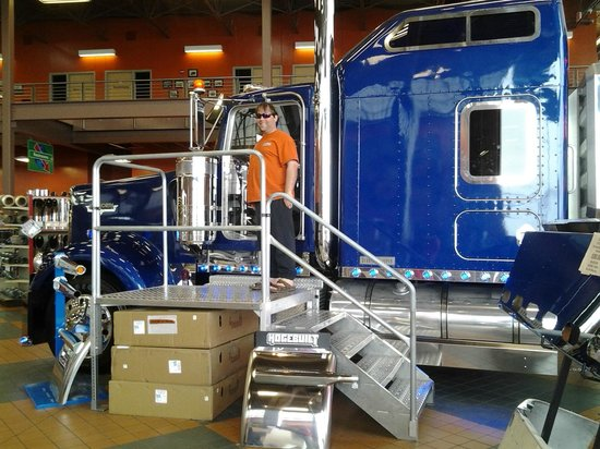 Iowa 80, World's Largest Truck Stop: My hubby with the awesome blue semi with all digital LED controls. Wow!