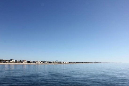 View of Oak Island (North) from the pier at Ocean Crest Motel
