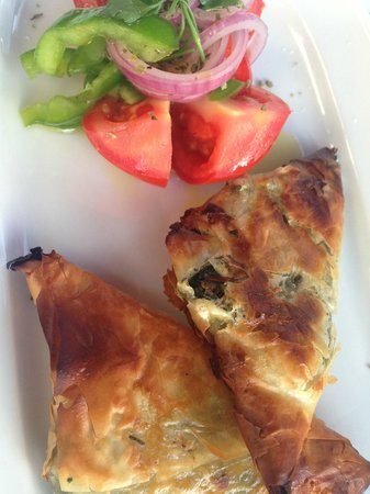 Mr. Greek: Starter - Filo pastry stuffed with spinach and feta cheese