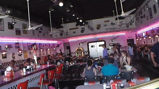 The interior of the Doo Wop diner. Note the numerous 1950s and '60s memorabilia on the walls.