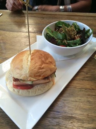 Purple Cafe and Wine Bar : wild caught salmon sandwich with salad