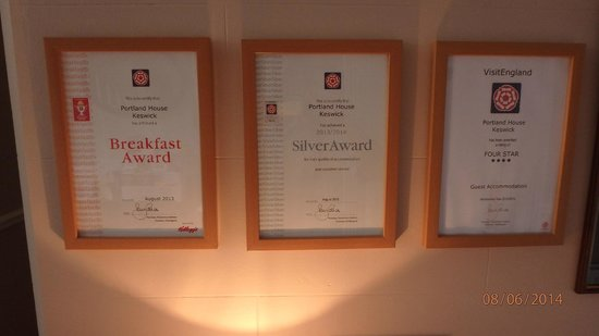 Portland House Bed and Breakfast: Awards