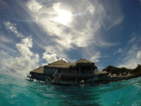 Conrad Bora Bora Nui: View of bungalow 107 from the water.