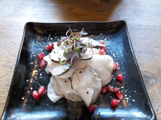 Yum Yum Ninja: lotus root, black radish and pomegranate salad