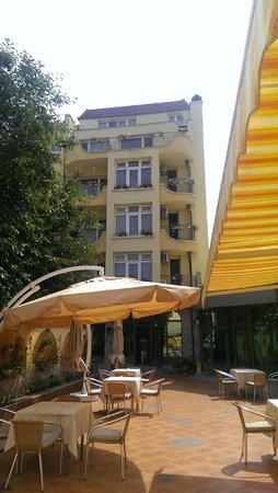 Bistra & Galina Hotel: The large building from the restaurant terrace