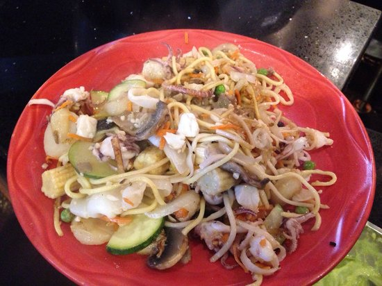 HuHot Mongolian Grill: Calamari baby corn water chestnuts zucchini coconut I need any ginger sauce garlic sauce garlic