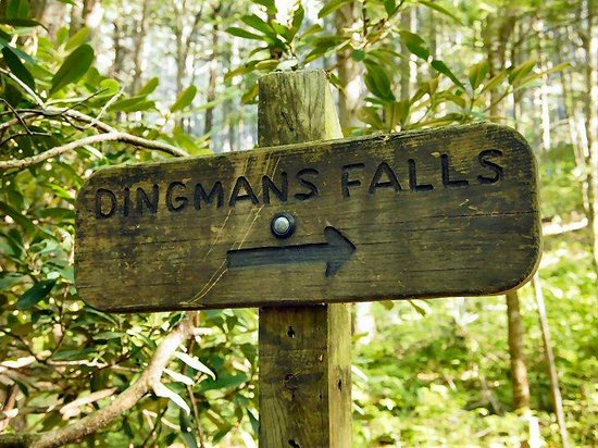 Dingmans Falls: A sigpost guides the way