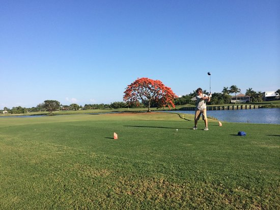 The Dunes Golf & Tennis Club : Lefty Ben Arensman teeing off on the 18th hole. Beautiful Royal Poinciana in full bloom in backg