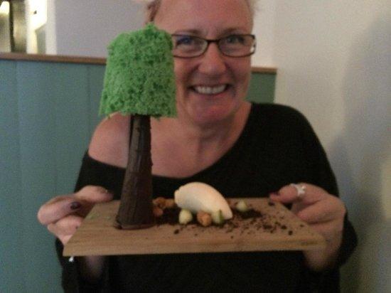 The Elderflower Lymington: pistachio Tree with chocolate trunk and ice cream sheep