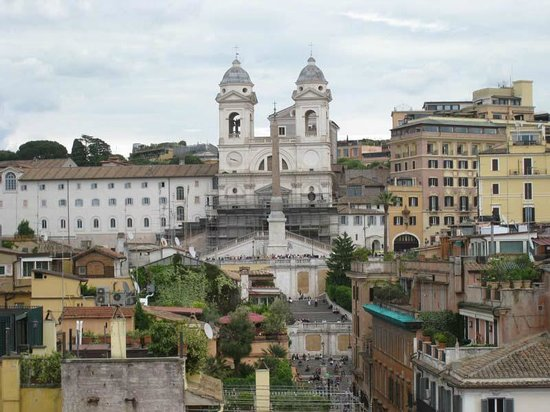 Portrait Roma: View of Spanish Steps from rooftop terrace