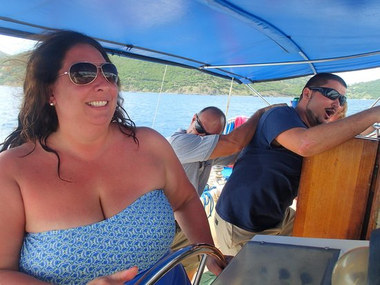 Kuralu Private Catamaran Charters : Camryn takes the wheel, HOLD ON!!!