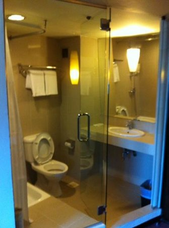 Strand Hotel : See through glass wall to bathroom