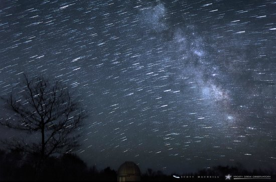 Charlestown, RI: Milky Way and star trails over Frosty Drew Observatory