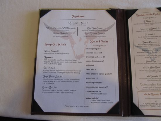 Chops Steakhouse: Chops Menu Page 1