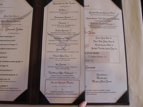 Chops Steakhouse: Chops Cocktail Menu