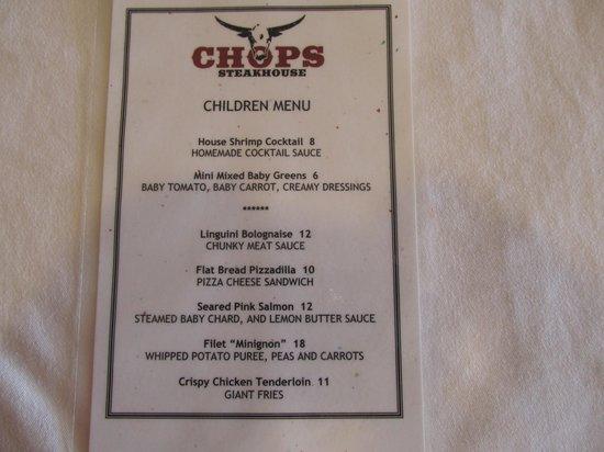 Chops Steakhouse: Chops Children's Menu