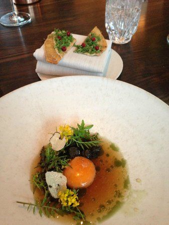 Studio - The Standard: An egg yolk cooked at 53 degrees for 45 minutes with truffle flakes and some lingonberry flatbre