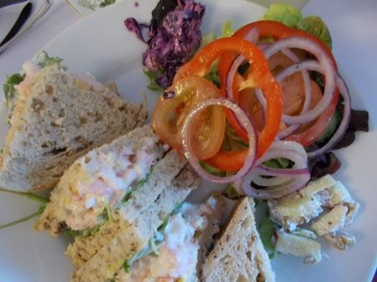 Bridge Tea Rooms: Prawn sandwiches with lemon and chilli mayo. Excellent, if messy, but who cares!