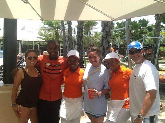 Hard Rock Hotel & Casino Punta Cana: At Eden pool with staff: Juan Pina, Juana & Yoselina