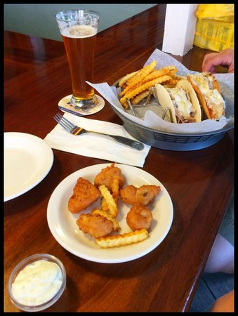Rum Shandy: The fish nuggets and chicken tacos. The nuggets come in a fancy basket, but we took them out to