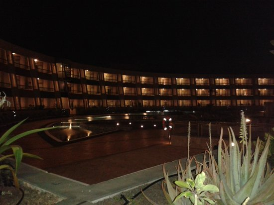 Geranios Suites & Spa Hotel: view at night from our room