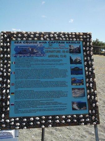 Captain Vasilis Boat Tour: Advert board