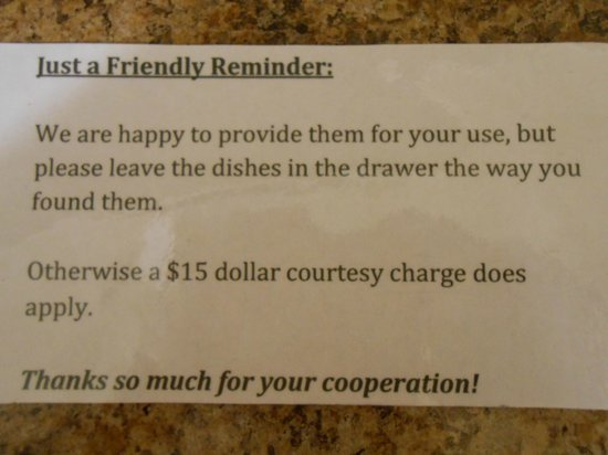 Denali Fireside Cabins & Suites: friendly reminder