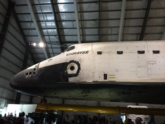 """California Science Center: The """"holes"""" are the thrusters on Endeavor"""