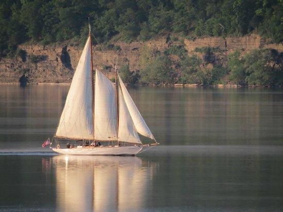 Watkins Glen Harbor Hotel : True Love Schooner Sailing at Sunset