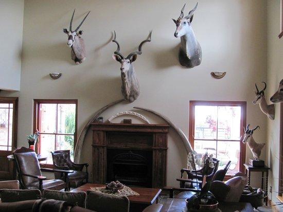 Jules of the Karoo: Main room in lodge (tusks are fiberglass)