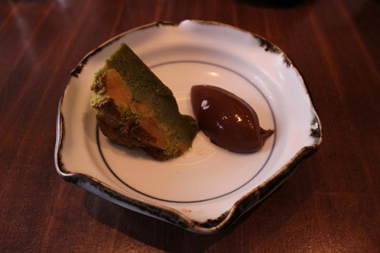 Kura : gateau au thé vert et à la pomme avec sa crème au chocolat