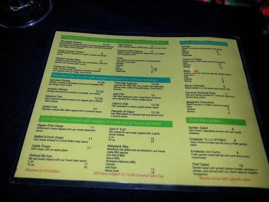 Cahal Pech Village Resort : Dinner menu - June2014 (prices in USD)