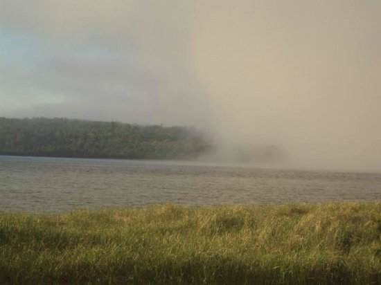 Munising Tourist Park Campground: Fog across Lake Superior, you could see it coming...
