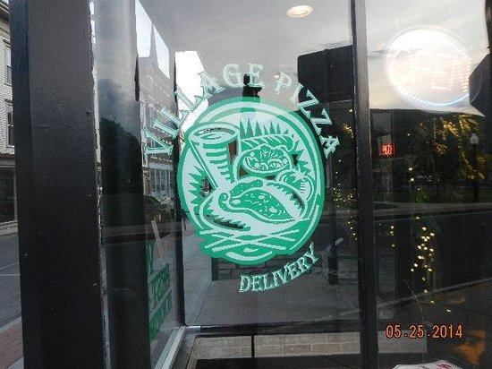 Village Pizza: window sign